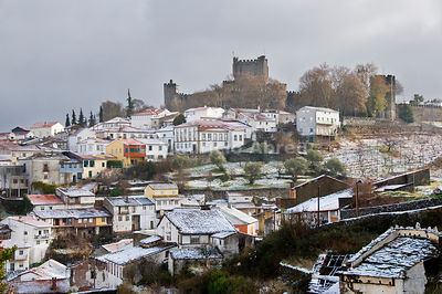 The castle and snowy historical center of Bragança, one of the old cities of Portugal, Trás-os-Montes