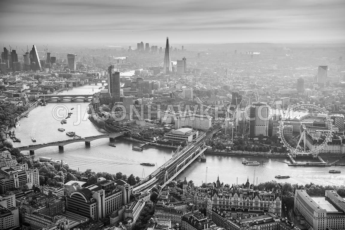 Aerial view of Westminster , City of London and Southbank , London at dawn.