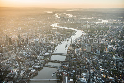 Aerial view of London at dawn.