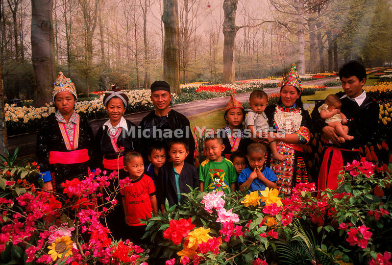Their world rapidly changing around them, a displaced Hmong hill tribe family poses in traditional dress against a backdrop of Holland's Keukenhoff Gardens at a photography studio set up at the Banvinai refugee camp in Thailand.