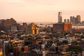 Lower Manhattan at dusk looking towards New Jersey and the Hudson RIver.