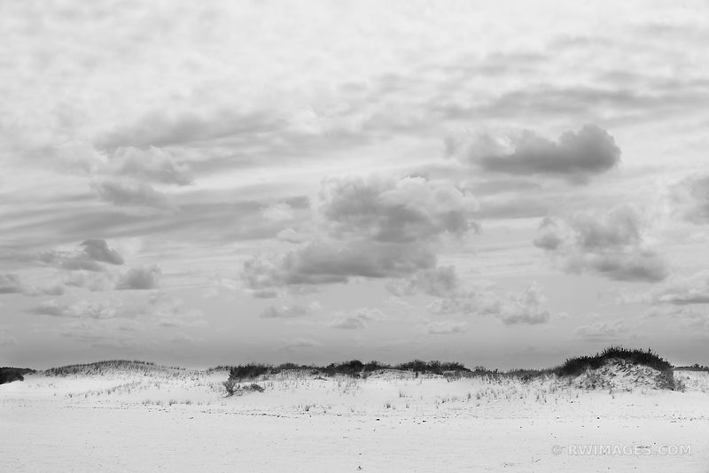 BEACH SAND DUNES ASSATEAGUE ISLAND NATIONAL SEASHORE MARYLAND BLACK AND WHITE