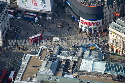 Piccadilly Circus aerial view, London