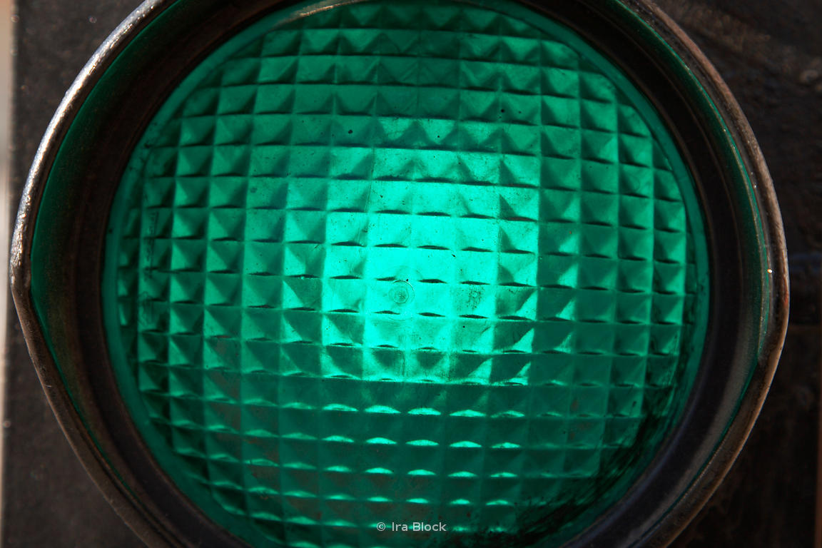 Traffic lights up close in Santiago, Chile.