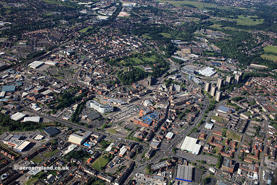 Rochdale town centre  from the air