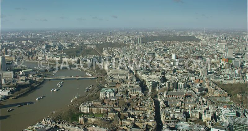 London Aerial Footage of Aldwych towards Covent Garden.