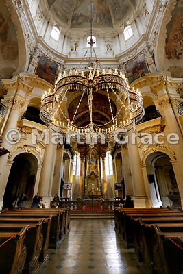 Interior of Church of St Nicholas (1732-1737), Old Town Square, Prague, Czech Republic