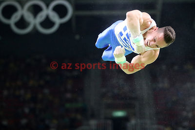Brazil, Rio, August 6. Artistic Gymnastics - Rio Olympic Arena. PETROUNIAS Eleftherios competes in Men's Rings.