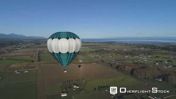 Fly by around hot air balloon, Olympic Peninsula Washington State