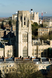 Bristol skyline and Wills Memorial Tower part of Bristol Univerity from the top of the Cabot Tower, Brandon Hill, Bristol.