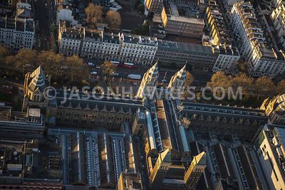 Aerial view of London, close up over roof top of Natural History Museum, Kensington.