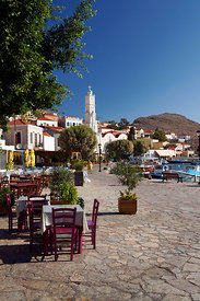 Harbour side Taverna, Village of Emborio, Chalki Island near Rhodes, Dodecanese Islands, Greece.