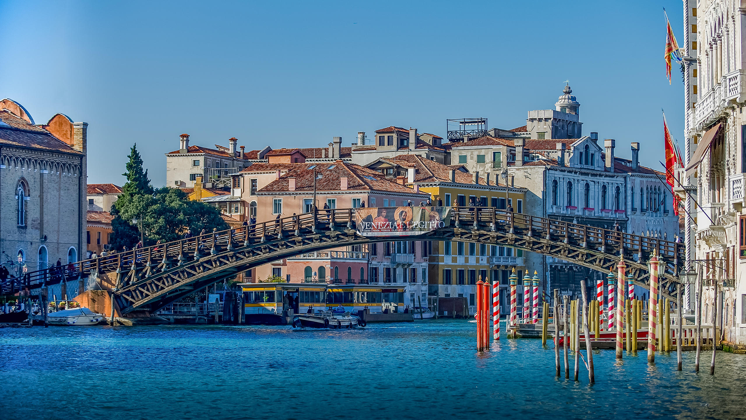 View of the Accademia Bridge along the Grand Canal, Venice