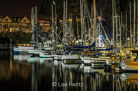 Boats at Night in Fort Bragg's Inner Noyo Harbor, California