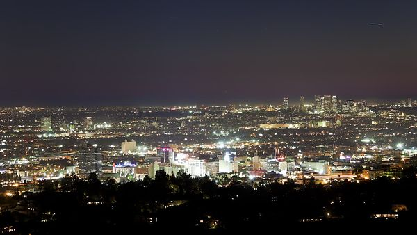 Bird's Eye: Neon Lights Of Hollywood Before Downtown L.A.