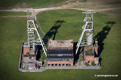 aerial photograph of Clipstone Colliery Nottinghamshire England UK.