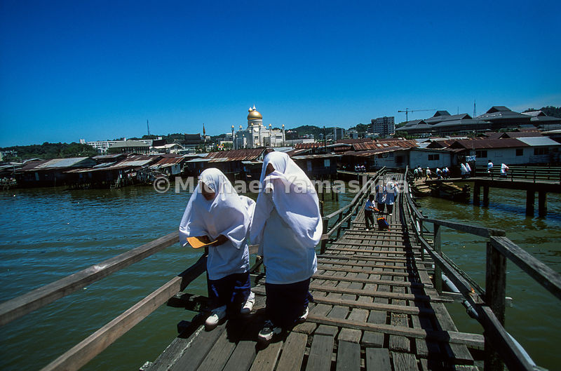 Kampong Ayer School. Going to and from school. Modern school facilities have been built for the residents. Schools, hospitals, police stations, mosques..Bandar Seri Begawan, Brunei