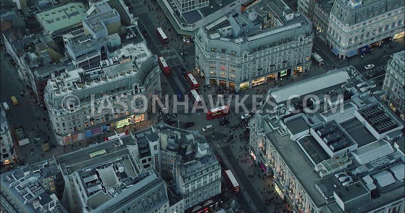 London Aerial Footage of Oxford Circus