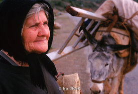 old woman and her donkey