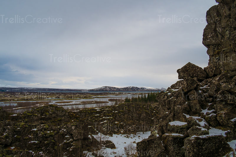 View from mountains of Thingvellir National Park in Golden Circle, Iceland