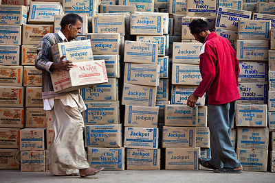 Cartons of packaged snacks in Jaisalmer, Rajasthan, India. Plastic packaging waste is a big problem in India.