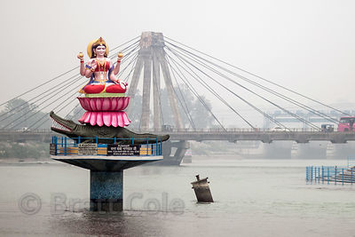Idol of the goddess Ma Ganga on the Ganges River, Haridwar, India