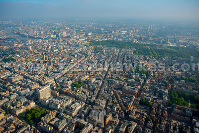 Aerial view over Oxford Street and Regent Street, London