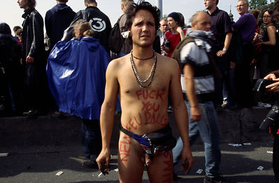 Czech Republic - Prague - A naked protester during the Anti Globalisation riots