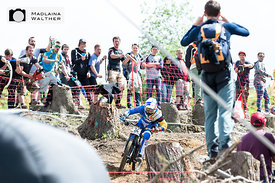 Red Bull rider Marcelo Gutierrez Villegas at the UCI Downhill Worldcup in Leogang, Austria.