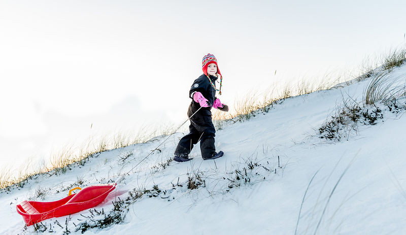 Danish girl sledding 2