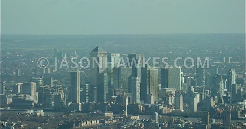 London Aerial Footage of Canary Wharf with Canada Tower.