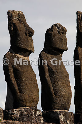 Two of the five Vai Uri (Dark Water) moai, Tahai complex, Easter Island