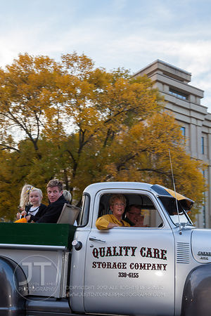Parade participants pass by on Clinton St during the  University of Iowa homecoming Parade in Iowa City on Friday September 28, 2012. (Justin Torner/Freelance)