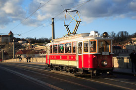 Old Prague Streetcar on the Manes Bridge, Prague, Czech Republic