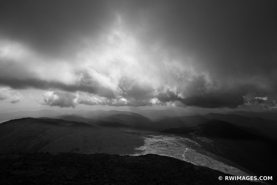 STORMY SKIES APPALACHIAN TRAIL WHITE MOUNTAINS NEW HAMPSHIRE BLACK AND WHITE