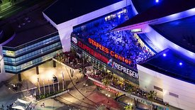 Bird's Eye: Close Up Of A Populated Neon Patio At Staples Center