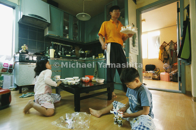 In the kitchen of a family, residents of Daeseong-dong, South Korea's only village inside the DMZ.
