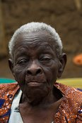 Close up face of elderly African woman Uganda Africa