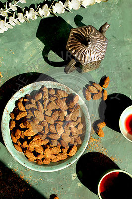 Cacao Ashwagandha Almonds served with hibiscus tea.