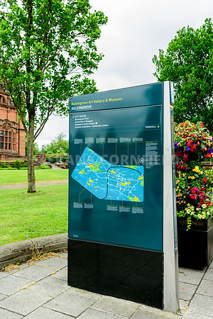 GLASGOW, SCOTLAND - JUNE 13, 2016: Visitor information point in the west enf of Glasgow, Scotland.