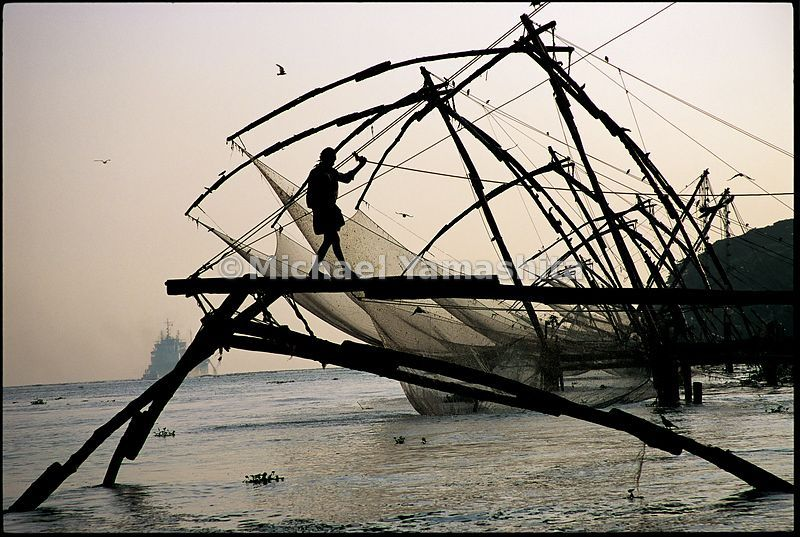 A fisherman balances on the frame of a dip net in Cochin. This Chinese fishing technique most likely came to Kerala in the 15th century with Zheng He's fleet.
