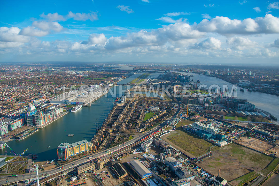 Aerial view of East London, Silvertown with River Thames.