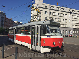 An almost 50 year old Czech tram in service