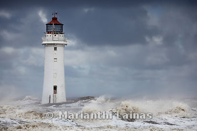 New Brighton Lighthouse in stormy weather
