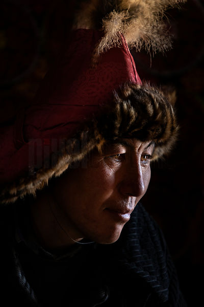 Portrait of Golden Eagle Hunter Esenbol Son of Bekysh