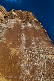 Elk Petroglyph on a Cliff High above Nine Mile Canyon