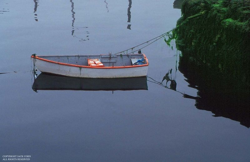 Orange rowboat, Maine