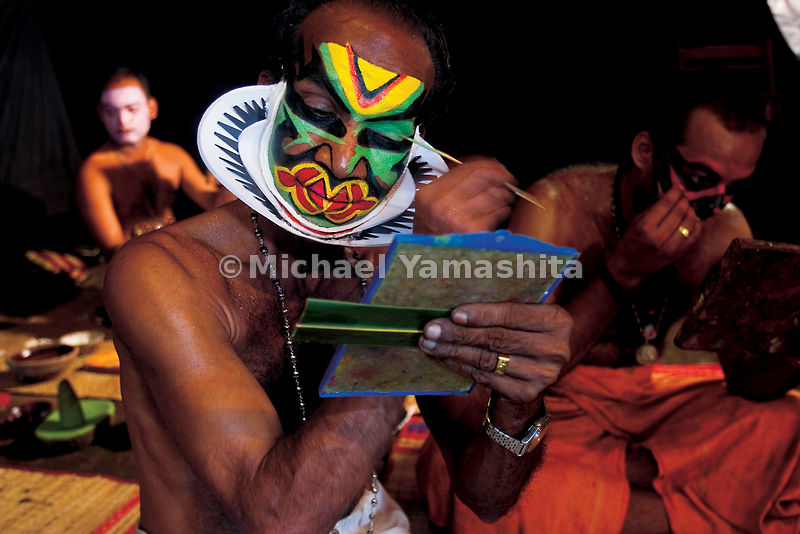 Kathakali performers spend painstaking hours applying their own elaborate makeup, as do singers in the Beijing opera, which many believe was the inspiration for Kathakali.  It's likely that Zheng He would have introduced the art of opera on his voyages to this strategic Indian port city.