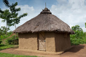 Traditional home in Kenya made from mud with a thatched roof, with a tidy yard.