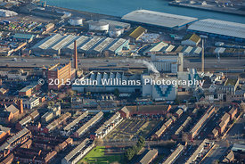 Aerial view Thompsons Feed, York Road, Belfast
